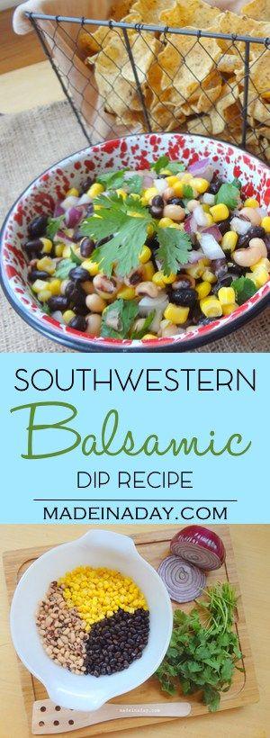 Balsamic Southwestern Dip Recipe, awesome zingy dip, cilantro, corn & black beans, easy recipe, party favorite, cowboy caviar, Cinco de Mayo favorite via @madeinaday