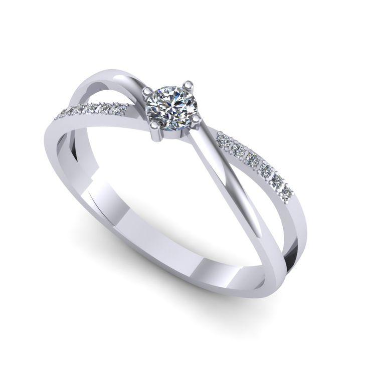 Inel logodna F124ADI * Piatra principala: diamant 1buc x ~3.40mm - greutate: ~0.15ct * Pietre secundare: diamante 12buc x ~1.00mm - greutate totala: ~0.05ct