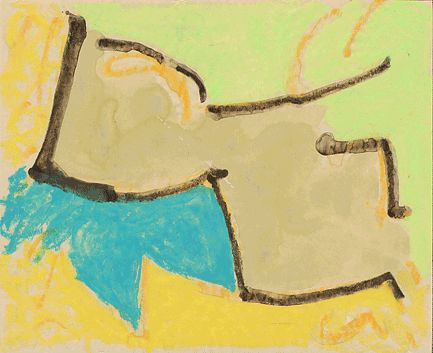 """""""Work 02""""by sanae   h17.9cm w 22.4 cm Gouache and Water-soluble on Paper 2003"""