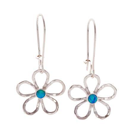 ACHICA | Banyan Opalite Set Flower Drop Earrings, Sterling Silver