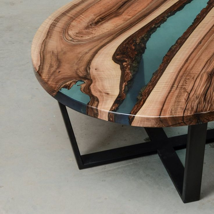 Round Coffee Table Resin Made Blue Epoxy Side Table River Etsy