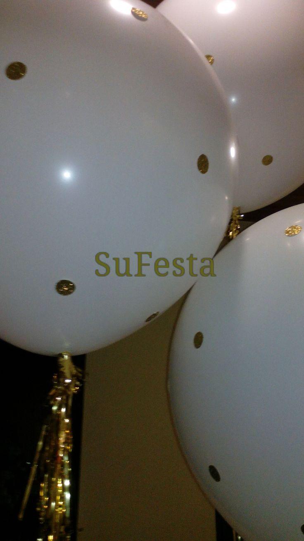 balloon polka dots White & Gold wedding decoration  Balões gigantes