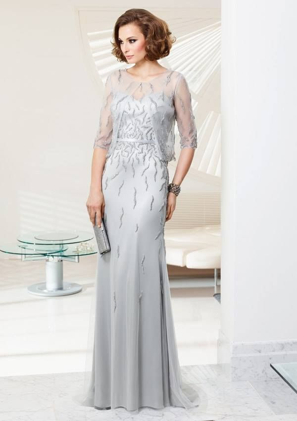 Style EZYOA Beaded Tulle  Dress and Jacket Colors Available: Silver, Champagne, Black. Sizes Available: 2-26* *Please refer to the VM size chart.