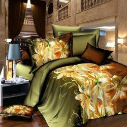 Fashionable 3D Activity Lily Pattern Duvet Cover Full Size 4 Pcs Bedding Set (Without Comforter) (BLACKISH GREEN,FULL) | Sammydress.com Mobile