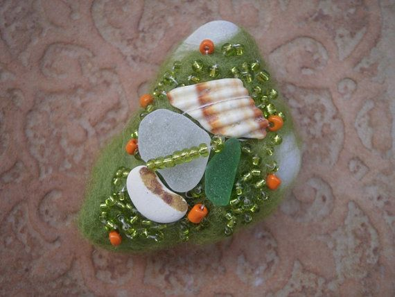 Sea glass beaded felted stone green felted by thalasseaglass, $20.00