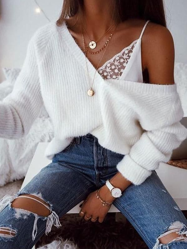 — Chellysun Wool V-Neck Solid Oversized Sweaters