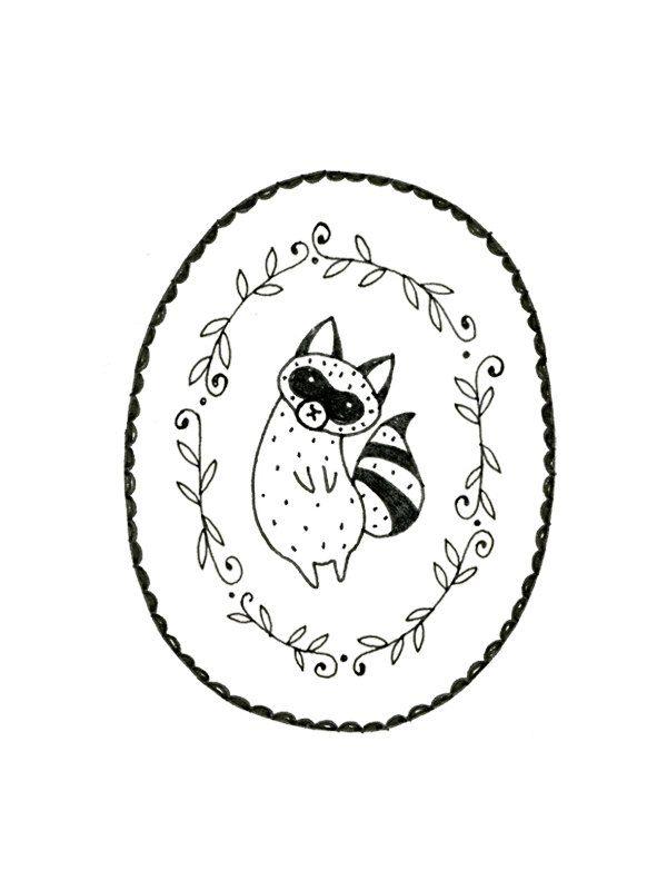 Raccoon Embroidery Pattern PDF Digital Downloadable. $2.00, via Etsy.