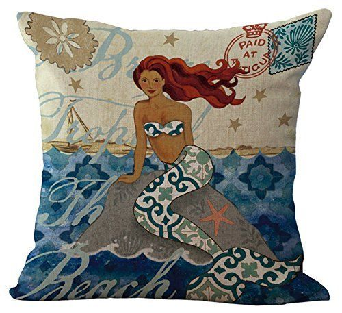 The Retro mediterranean mermaid Pillow Case Cotton Blend Linen Cushion Cover Sofa Decorative Square 18 Inches family life 3 >>> For more information, visit image link.