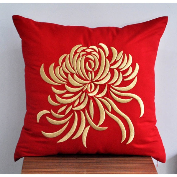 """Gold Chrysanthemum Embroidered Decorative Pillow Cover 18"""" x 18""""- Red Linen with Gold Flower Embroidery found on Polyvore"""
