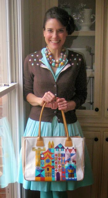Cassie Stephens: DIY: It's a Small World Painted Bag - Anthropologie Knockoff with the art of Mary Blair