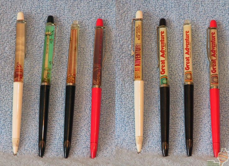 liquid souvenir pens with moving things floating inside