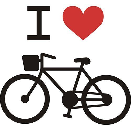Adesivo Diverso I Love Bike X4 Adesivos Colorido (80x72cm)