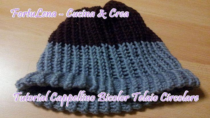 Altro semplicissimo tutorial di Cappellino in lana realizzato con telaio circolare. Questa volta bicolor!!! ^_^