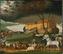 Noah's Ark-- (Biblical Hebrew: Tevat Noaḥ) is the vessel in the Genesis flood narrative (Genesis chapters 6–9) by which God spares Noah, his family, & a remnant of all the world's animals from the flood. According to Genesis, God gave Noah instructions for building the ark. Seven days before the deluge, God told Noah to enter the ark with his household & the animals. The story goes on to describe the ark being afloat throughout the flood & subsequent receding of the