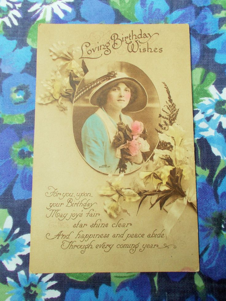 """Vintage Birthday Wishes Postcard - """"Loving Birthday Wishes"""" - 1916 - Used by GertieGussetsVintage on Etsy"""