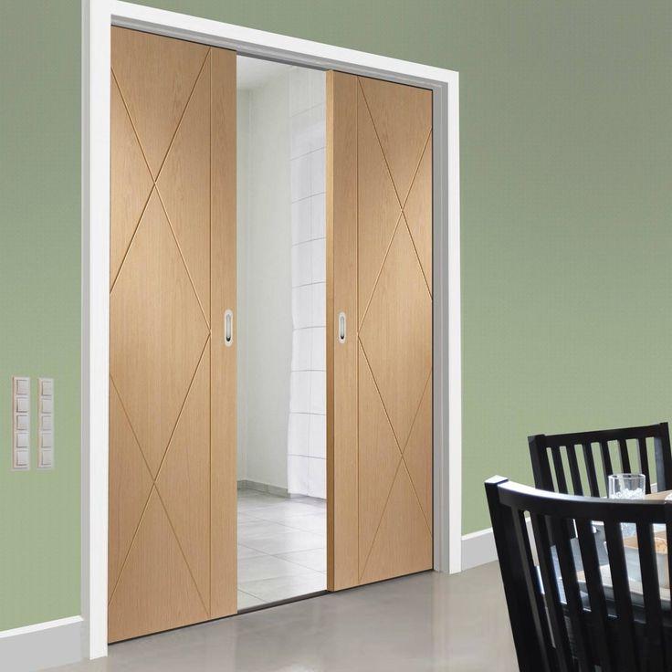 Double Pocket Sassari Oak Flush Door with Groove Design & 77 best Flush Pocket Door Pairs images on Pinterest | Pocket doors ... Pezcame.Com