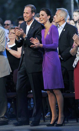 Kate Middleton chose a purple Issa dress for evening festivities during the couple's North American tour.