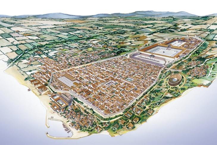La ciutat de Tarraco (Tarragona). Tarraco ancient roman village now Tarragona (Catalonia).