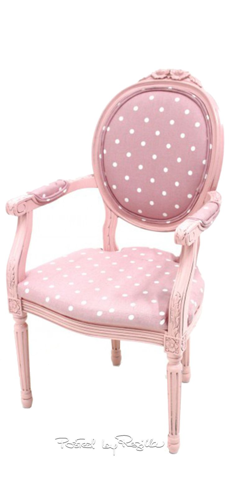 Pink chair with polka dots