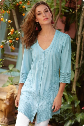 Beautiful aqua tunic top with crochet details on sleeves.