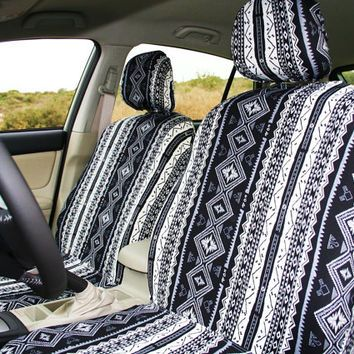 Car seat covers for adult car seat, black & white african pattern, african style (pair of covers for front seats)
