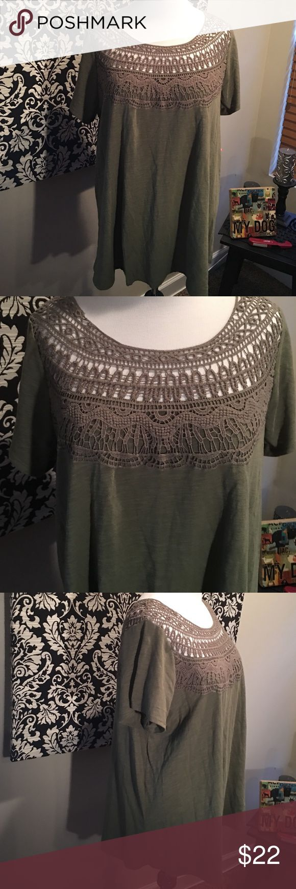 Liz Lange Maternity Target olive crochet tee Liz Lange Maternity Target olive crochet tee. Short sleeve, mastermind brand. Don't have to be pregnant to wear this, fits normally. New with tags, size XXL. Cotton. Liz Lange Tops Tees - Short Sleeve
