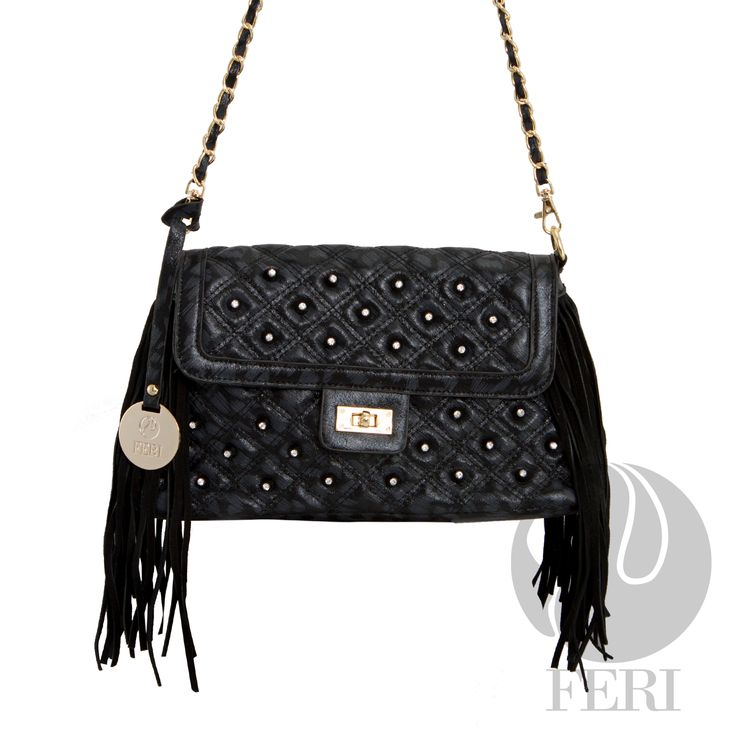 "FERI Day2Day - Rianna - Purse - Black - Black quilted metallic shine fabric bag - PU Leather fringe - Gold toned chain shoulder strap braided with matching fabric - Embellished with white stones - Twisting clasp closure with zipper - Gold toned customized FERI hardware - Custom FERI lining with zippered pouch and cellphone pockets - Dimension: 12.0"" x 6.5"" x 3.9"" (Width x Height x Depth)   www.gwtcorp.com/ghem or email fashionforghem.com for big discount"