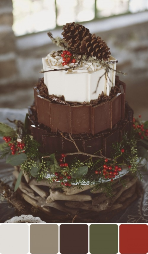 winter cake pinecones cranberries chocolate candy squares vanilla buttercream. photo by rebecca hollis.