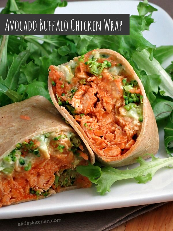 Avocado Buffalo Chicken Wraps - creamy avocado and Greek yogurt spread replace the mayo in this spicy buffalo chicken salad. #recipes #healthy  #WeekdaySupper