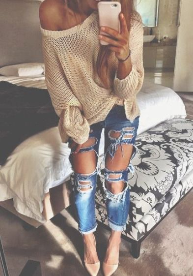 cute and hot one shoulders cable knit sweater + distressed jeans + nude high heels