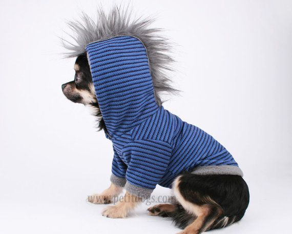 Dog clothes LARGE Grey fur Punk Mohawk Blue Stripe Hoodie