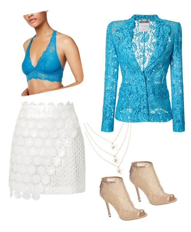 """Lace"" by tripti917 on Polyvore featuring Topshop, Moschino, Maidenform and Badgley Mischka"
