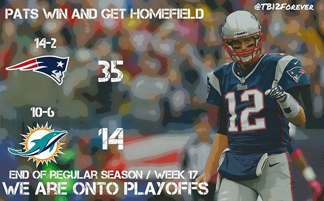 WE HAVE #HOMEFIELD THOUGH THE PLAYOFFS !!! FINISHED REGULAR SEASON 14-2. WE ARE ONTO #PLAYOFFS!!! WE BEAT MIAMI 35-14 AND WE ARE #1 SEED  #PatsNation #Patriots #DoYourJob #PatriotNation #GoPats #NewEnglandPatriots #Boston #TomBrady #GOAT #TB12 #TeamBrady #BradyforMVP #patscountry #patsnationbaby #Playoffs #RoadtoSB51 #driveforfive #Gilettestadium #JulienEdelman #Edelman #malcolmbutler #tb12goat #Vollmer #Gronk #Blount