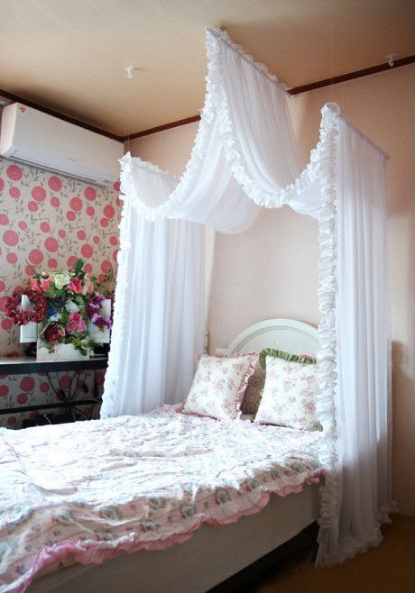 A romantic bed curtain i like this over a little girls for Canopy over bed