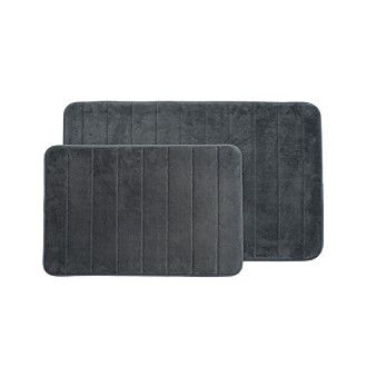 Lavish Home 2-pc. Memory Foam Striped Bath Mat Set