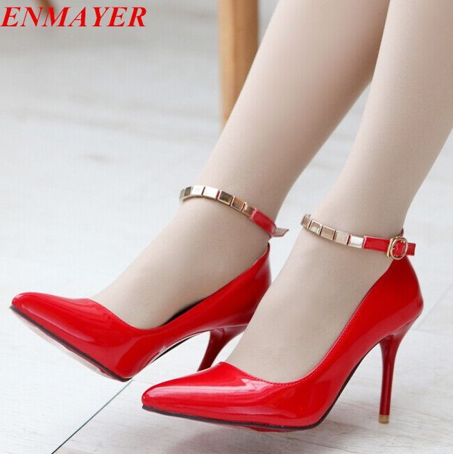Find More Pumps Information about ENMAYER Ankle Strap Women's Pumps 2015 Sexy Pointed Toe High Heels 9cm Office Prom Wedding Shoes Comfort Solid  Platform Pumps,High Quality shoe tower,China shoes halloween Suppliers, Cheap pumps peristaltic from ENMAYER CO., LIMITED on Aliexpress.com