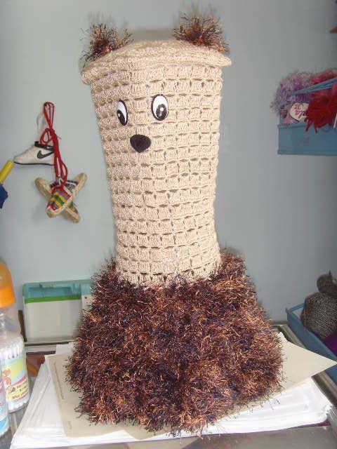 Vestido para licuadora en hilo coral y terciopelo  hecho en crochet por CHELITO