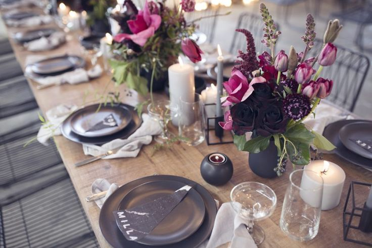 Modern wedding tablescape with black tableware