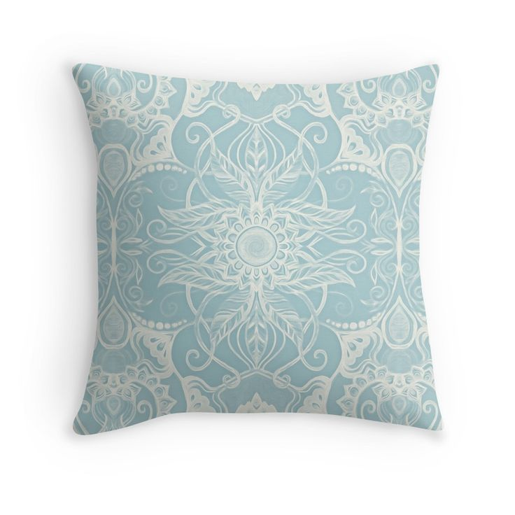 """""""Floral Pattern in Duck Egg Blue & Cream"""" Throw Pillows by micklyn 