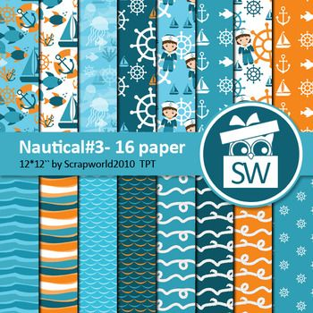 Nautical paper set#3 includes 16 digital paper jpg formatsize 12 by 12 inch 300dpi, for personal and commersial useClipart (png) with this design can be seen herehttps://www.teacherspayteachers.com/Product/Nautical-Clipart-for-commersial-useSailor-Sailboat-Anchor-Lighthouse-Sale-2942269