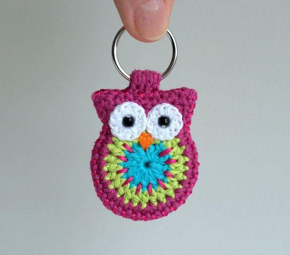 Crochet owl keychain owl keyring pink crochet owl door MikiJensen