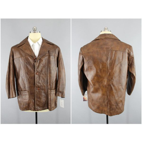 Vintage 1970s Leather Coat 70s Men's Car Coat REED Brown Leather... ($65) ❤ liked on Polyvore featuring men's fashion, men's clothing, men's outerwear, men's jackets, mens vintage leather jackets, mens vintage jackets, mens brown jacket and mens car coat