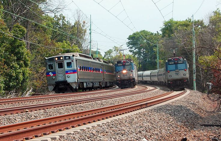 Amtrak and SEPTA commuter trains on electrified Main Line, Rosemont, Pennsylvania