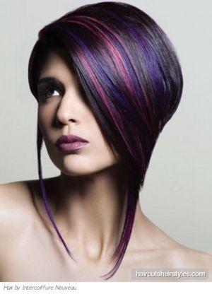 "Edgy Purple Hair Highlights by candice - I like the 'dark"" purple streaks!"