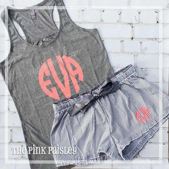 Monogrammed Pajama Set | Personalized Gift for Her | Monogrammed Seersucker Shorts | Honeymoon PJs | Seersucker Boxers