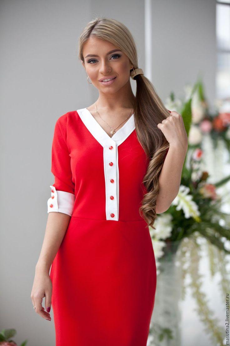 """Купить Платье """"Мак"""" - ярко-красный, красное платье, яркое платье, платье в офис"""