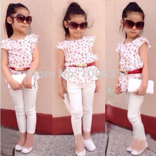 DT0229 Chica conjuntos de ropa infantil de verano de moda femenina del verano del bebé hermosos conjuntos de algodón floral de la camisa/blusa + pantalones