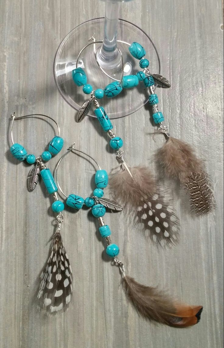 Set of 4 Southwestern themed wine glass charms. $20