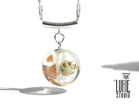 Sea shell necklace with coral lichen and Copperflake unique