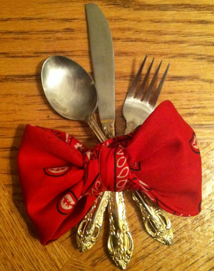 Silverware set up idea I created recently. Instead of traditional napkins, I used a cloth bandana and folded it into a bow and slipped in the silverware.